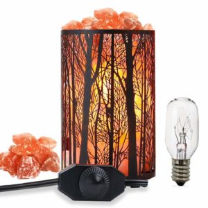 Round Wood Rock Salt Lamps